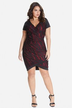 2221f817527 Plus Size Addie Flocked Animal Dress. Love the front style. Trendy Plus  Size Clothing