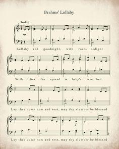 Sheet Music Art Lullaby Sheet Music Sheet Music Prints You