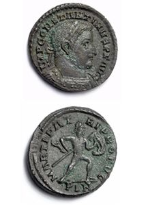 Roman coin of Constantine the Great, with the mintmark PLN for London