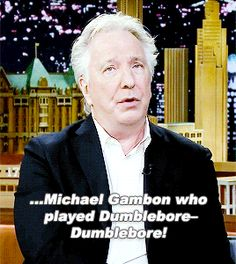 """2015 - Alan Rickman on """"Late Night with Jimmy Fallon."""" Alan goofed on Dumbledore's name and cracked himself up."""