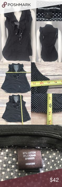🌳Sz Large Express Sleeveless Polka Dot Ruffle Top Measurements are in photos. Normal wash wear, no flaws. /37  I do not comment to my buyers after purchases, due to their privacy. If you would like any reassurance after your purchase that I did receive your order, please feel free to comment on the listing and I will promptly respond.   I ship everyday and I always package safely. Thank you for shopping my closet! Express Tops