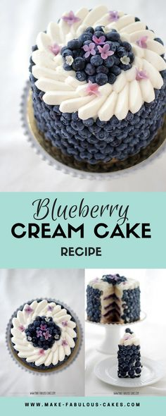 Blueberry Cream Cake Recipe by Make Fabulous Cakes - christmas - Kuchen Beaux Desserts, Köstliche Desserts, Dessert Recipes, Recipes For Cakes, Wedding Cake Recipes, Sweets Recipe, Homemade Cake Recipes, Fast Recipes, Wedding Cakes