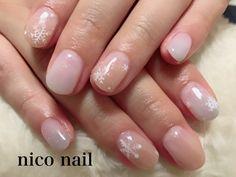 浜松市 中区 自宅ネイルサロン nico nail ニコネイル:オリーブとグレーのグラデーションネイル(雪の結晶)
