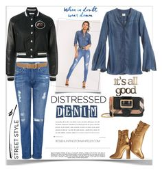 """""""Distressed Jeans"""" by ellie366 ❤ liked on Polyvore featuring AG Adriano Goldschmied, Chico's, Burberry, Letter2Word, Whiteley, Gianvito Rossi, Prada, Givenchy, GetTheLook and StreetStyle"""