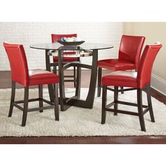 The Monoco dining set will add contemporary flare to your dining area. The sleek counter chairs are available in an array of colors to accent your current décor.The designer table base is finished in black and accented by a shiny chrome stretcher.