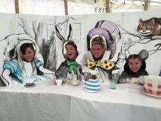 Diarama of mad hatter tea party. Faces popped out so guests could have fun pictuers