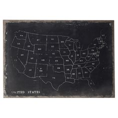US Chalk Outline Wall Map