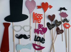 Valentine's Day Photo Booth Prop Set  16 piece DIY by shoppe3130, $21.00