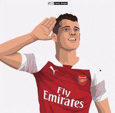 Granit Xhaka, Arsenal, Football, Illustration, Football Art, Caricature, Soccer, Futbol, Illustrations