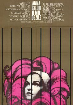 ♥ Romanian poster for ANNE OF THE THOUSAND DAYS (Charles Jarrott, USA, 1969) - Manescu