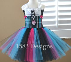 Frankie Stein Monster High Tutu Dress - Costume, Birthday, Special Occasion, Party, Dress up, portraits by 1583Designs