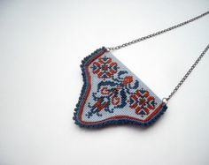 Textile jewelry hand embroidery and crochet necklace brown Etsy Embroidery, Embroidery Leaf, Embroidery Letters, Embroidery Works, Embroidery Patterns Free, Embroidery Fashion, Embroidery Jewelry, Hand Embroidery Designs, Embroidery Hoop Nursery
