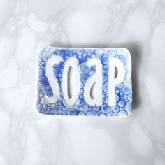 Bubble SOAP dish with cobalt blue texture, white porcelain recessed letters word SOAP bathroom accessory