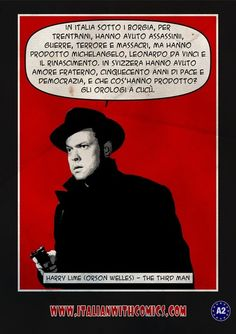 Harry Lime (Orson Welles) -The Third Man. (Translation at http://www.italianwithcomics.com/comics/harry-lime-orson-welles-the-third-man)