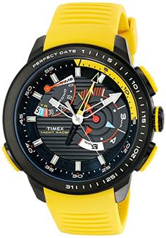 Men's Wrist Watches - Timex Mens TW2P44500DH Intelligent Quartz Yacht Racer Watch With Yellow Silicone Band -- To view further for this item, visit the image link.