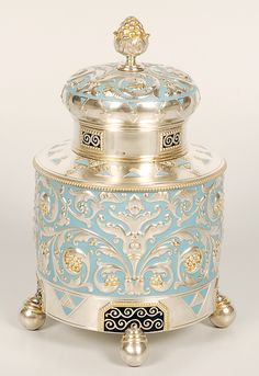 Imperial Russian Faberge silver & enamel tea caddy