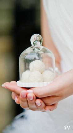 Perfect for any of your favorite treats, our Mini Glass bell Jar dresses up your wedding favors with chic style. Get them for your big day here: http://www.weddingstar.com/product/miniature-glass-bell-jar-with-white-fluted-base