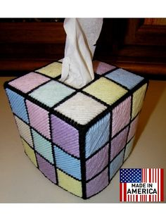 Rubik's Rubiks Rubix Rubic Cube Tissue Box Cover Hand Made by Frizman,Inspired By The Big Bang Theory - A Easter/Spring twist on this classic Tissue Box Cover - something a little different. $24.99