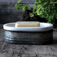 Metal And Stoneware Soap Dish, Set of 2