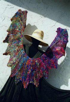 shawl made with recycled silk yarn