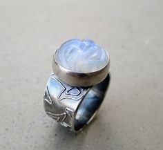 The Lunar Queen Ring with Rainbow Moonstone by SilviasCreations