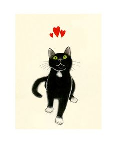Art Print Black Cat Art  Yours Devotedly   58 X by matouenpeluche on Etsy.