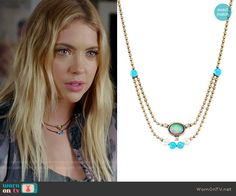 Hanna's layered necklace on Pretty Little Liars. Outfit Details: https://wornontv.net/70415/ #PLL