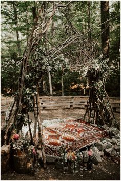This Eclectic Prince William Forest Park Wedding is Just Ridiculously Beautiful India Hannah and Tai's Prince William Forest Park wedding is a DIY masterpiece with a spectacular ceremony arch, prayer flag making station, and pot luck dinner. Wiccan Wedding, Viking Wedding, Woodland Wedding, Boho Wedding, Dream Wedding, Forest Wedding Decorations, Wedding In Forest, Nordic Wedding, Woodland Decor