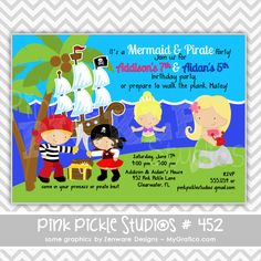 Mermaid & Pirate Personalized Party Invitation-personalized invitation, photo card, photo invitation, digital, party invitation, birthday, shower, announcement, printable, print, diy, toys, lego