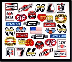 McAllister Racing Vintage Racing Contingency decal sheet Most decal sizes are tall and 1 inch lo Racing Stickers, Car Decals, Slot Cars, Race Cars, Cool Car Drawings, Rc Car Bodies, Festa Hot Wheels, Vintage Patches, Drag
