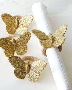 Shop Sparkle Butterfly Napkin Rings, Set of 4 from Juliska at Horchow, where you'll find new lower shipping on hundreds of home furnishings and gifts. Butterfly Gold, Butterfly Wedding, Tabletop Accessories, Napkin Folding, Deco Table, Cocktail Napkins, Hostess Gifts, Twine, Napkin Rings