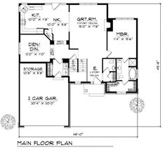Traditional Style House Plan - 3 Beds 2.5 Baths 1972 Sq/Ft Plan #70-258 Floor Plan - Main Floor Plan - Houseplans.com
