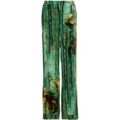 Alberta Ferretti printed velvet palazzo pants ($890) ❤ liked on Polyvore featuring pants, green, alberta ferretti, green trousers, multi colored pants, palazzo trousers and multi color pants