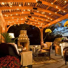 Enjoy a romantic evening under a Hearthside Pergola with lighting for just the right ambiance.  See more at Gazebo.com