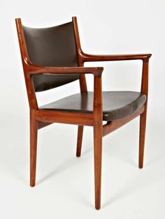 Hans Wegner; #JH513 Walnut and Leather Armchair for Johannes Hansen, c1960.