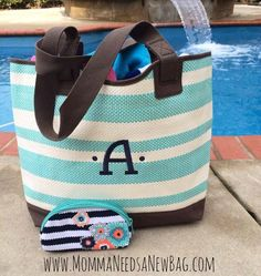Get this gorgeous summer tote before it's gone!! The Euro Straw Tote comes in Turquoise and Coral Stripe. www.MommaNeedsaNewBag.com