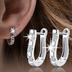 1Pair 925 Sterling Silver Nice White Silver Brincos Ouro Women's Hoop Earrings For Women Earring Jewelry Gift 2015~ER689 - V-Shop