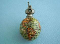 Antique Hand Painted Miniature Wooden Globe Stanhope Charm C1900 | eBay
