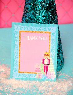 NUTCRACKER Birthday - Nutcracker THANK YOU CARD - Nutcracker Party- Ballerina Party- Winter Party Baby Ballerina, Ballerina Party, Yogurt Ice Cream, Ice Cream Party, Ice Cream Maker, Candy Party, Thank You Cards, Party Time, Christmas Holidays