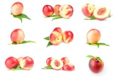 set of juicy ripe peaches isolated on a white background cutout