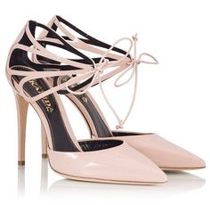 8e2375505a0d Fratelli Karida - Nude patent leather cut-out lace-up stiletto pumps