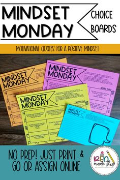 Start your Mondays with a routine that eases students into the week with a positive mindset. Using the first few minutes of class, these Mindset Monday choice boards include simple and engaging inspirational quotes that make for fantastic reflection and great class discussions about growth mindset, resiliency, self-love, and community. Teacher Created Resources, School Resources, Classroom Resources, Motivational Quotes, Inspirational Quotes, Choice Boards, Elementary Teacher, Positive Mindset, Growth Mindset