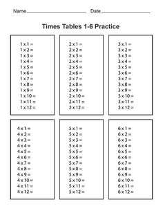 Blank Times Table