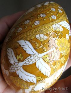Spiral Birds and Blooms Chiyogami Ukrainian Style Easter Egg Pysanky by So Jeo