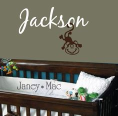 Name with Monkey Wall Decal - Children's Bedrom - Boy Girl Nursery - Vinyl Wall Art Room Decor Sticker - CM105B. $28.00, via Etsy.