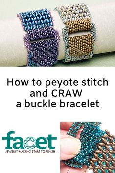 Peyote stitch and CRAW a buckle bracelet Making Bracelets With Beads, Jewelry Making, Beading Tutorials, Beading Patterns, Beaded Jewelry Designs, Diy Jewelry, Jewlery, Jewelry Bracelets, Handmade Jewelry