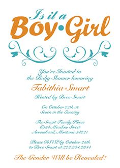 Baby Shower Invitations - A cute customizable baby shower invite for a gender reveal!