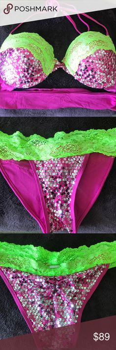 Beach Bunny Swimwear Bikini Small NWOT Dazzled Sparkling Pink with Green Lace Bikini. Top size Small and Bottom Size Small. Top ties at the neck and back adjustable for comfort. New without tags! Beach Bunny Swim Bikinis