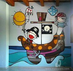2011 Copyright [Espray y posca] Room Wall Painting, Kids Room Paint, Mural Art, Wall Murals, Wall Art, Painting For Kids, Art For Kids, Playroom Mural, School Murals
