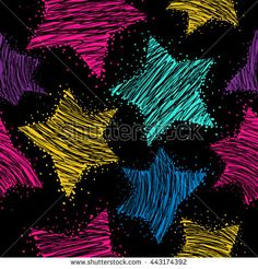 Abstract seamless pattern for girls. Neon pattern. Stars background in neon…